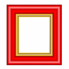 red frame with gold passepartout isolated on white background