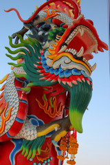 Chinese style dragon on post of shrine