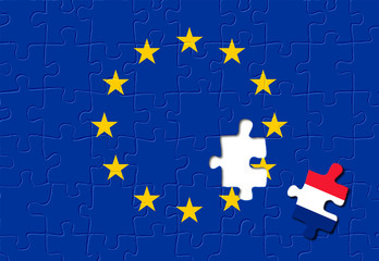 Jigsaw puzzle showing France is a part of the European Union