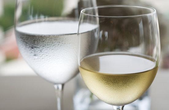 White wine and water