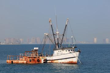 Old fishing trawler in Doha, Qatar