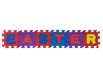 """The word """"Easter"""" with alphabet puzzle letters isolated"""