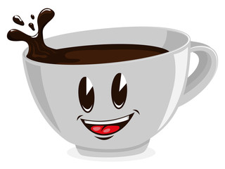 Cute cup of coffee. Vector illustration.