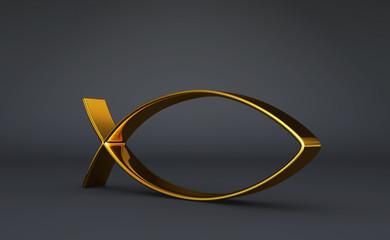 3D ICHTHYS Gold auf Schwarz 03