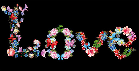 word love formed from different flowers