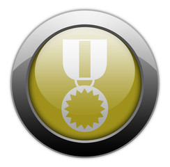 "Yellow Metallic Orb Button ""Award Medal"""