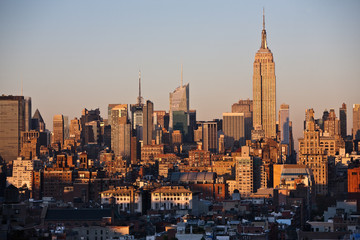 Skyline von Manhattan, New York City im Sonnenuntergang