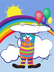 Aluminium Prints Rainbow Vector illustration with a clown and baloons