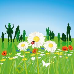 Familien im Frühling