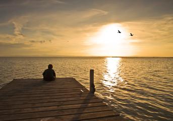 Fotorolgordijn Pier niño en soledad