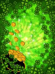 Pot of Gold on Shamrock Four Leaf Clover Background Vertical