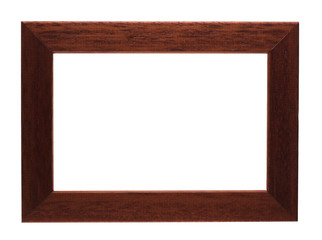brown modern photo frame isolated on white with clipping path