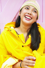 Girl in raincoat