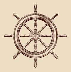 ship steering wheel vintage vector illustration