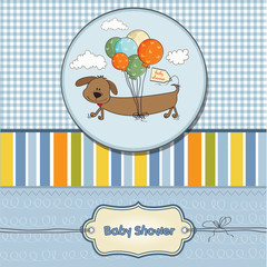 baby shower card with long dog and balloons