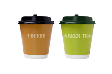 Coffee and Green Tea in Paper Cups