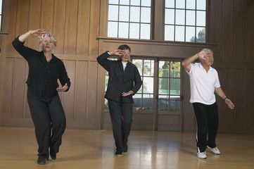 Three seniors practicing Tai Chi indoors