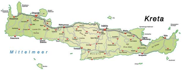 Insel Kreta in gruen