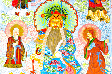 Painting Chinese style in Thailand Temple
