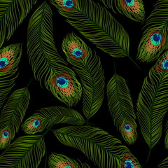Seamless texture with peacock feathers