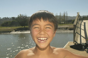 Portrait of boy laughing