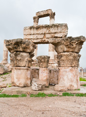 ruins of Temple of Hercules in antique citadel in Amman