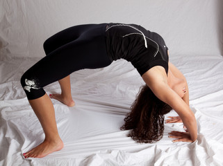 woman doing a back bend