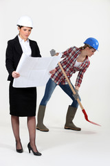 Worker and female architect