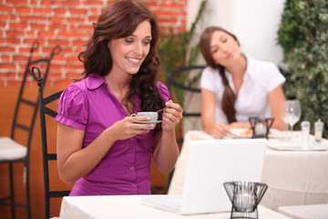 Two woman in restaurant