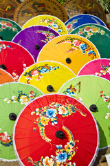 Pattern of thai colorful umbrellas