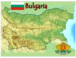 bulgaria europe map flag emblem