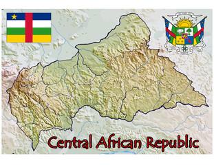 central african republic map flag emblem