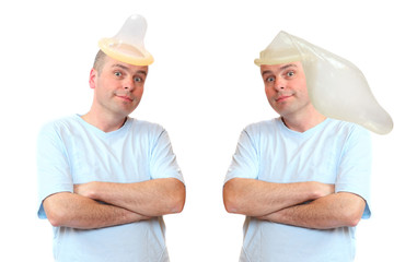The gay couple with condoms on a their heads.