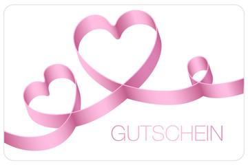 Gutschein 2 Herzen Geburtstag rosa