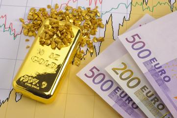gold bar, nuggets and euro