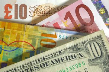 dollar, franc, euro, pound currency