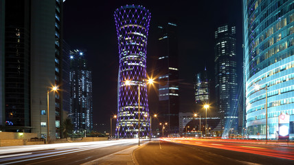 Wall Mural - Blue illuminated Tower in Doha, Qatar