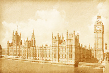 vintage background with Houses of Parliament  in London, UK .