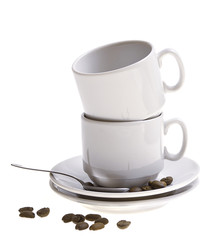 Coffee beans, cup, isolated on white