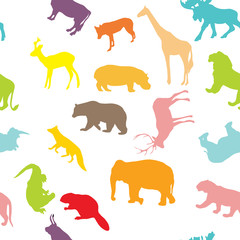 wild animals seamless pattern background