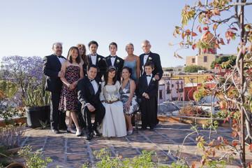 Hispanic family at Quinceanera
