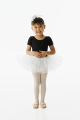 Asian girl in ballet outfit