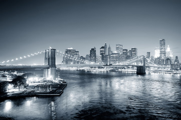 Wall Mural - New York City Manhattan downtown black and white
