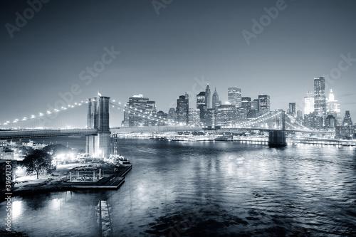 Fototapete New York City Manhattan downtown black and white