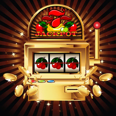 A slot fruit machine with cherry winning on cherries.
