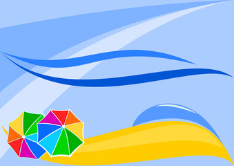 Vector Image the beaches with parasols, suitable for adding text
