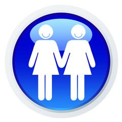Ícone com um casal de mulheres de mão dada e a sorrir