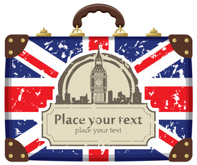 Travel suitcase with flag of Britain and Big Ben