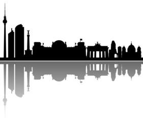 Wall Mural - Berlin Skyline Spiegelung Vektor