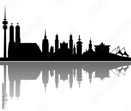 Wall mural München Skyline Spiegelung Vektor